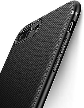 J Jecent Funda iPhone 8 Plus Funda iPhone 7 Plus [Textura Fibra de Carbono] Carcasa Ligera Silicona Suave TPU Gel Bumper Case Cover de Protección Antideslizante [Anti-Rasguño] [ Anti-Golpes]: Amazon.es: Electrónica