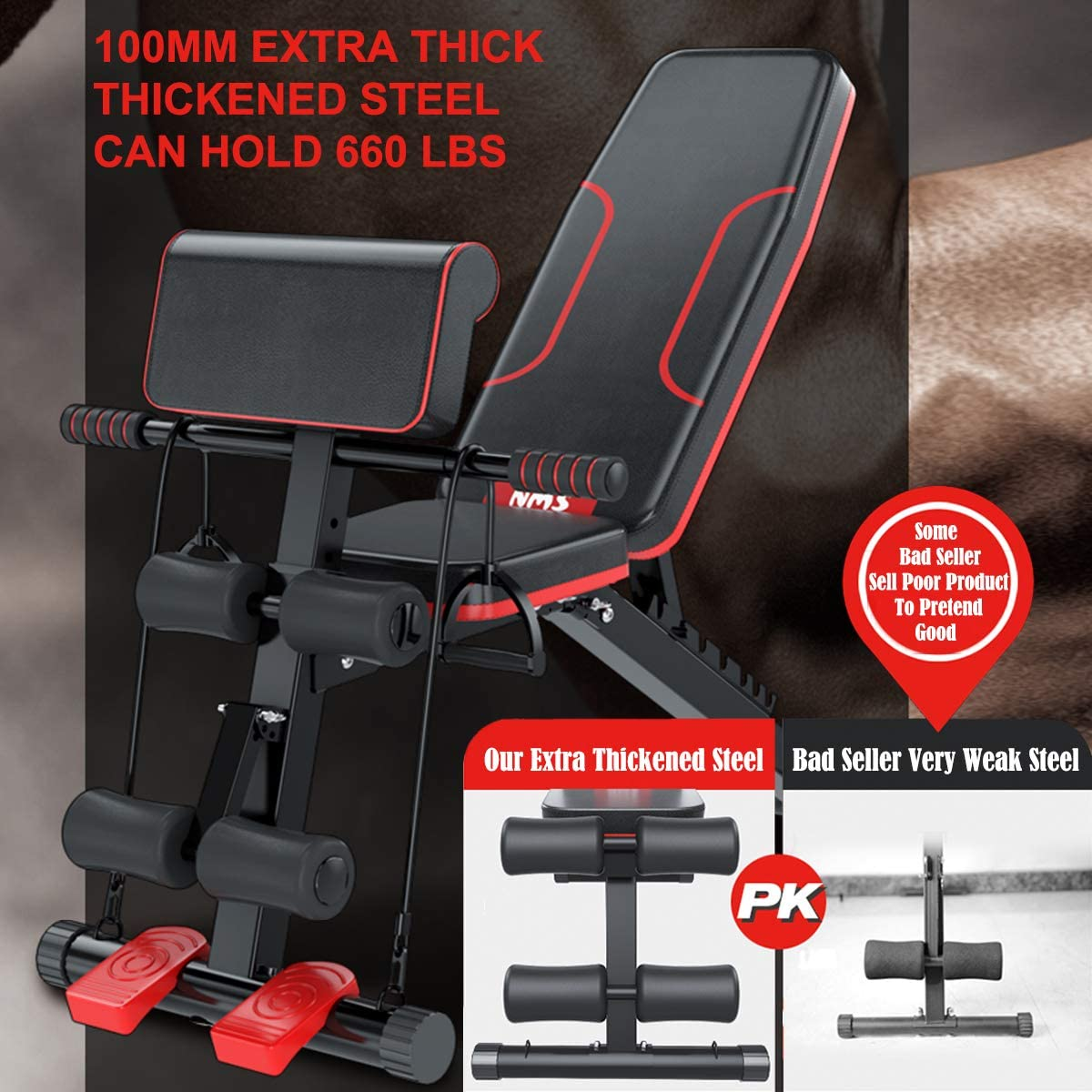 with Fast Folding,For Home Gym Full All-in-One Body Workout Weight bench,Flat//Incline//Decline Bench Multi-Functional Adjustable Strength Training Bench Preacher Curl Bench,Roman Chair,Sit-up Board
