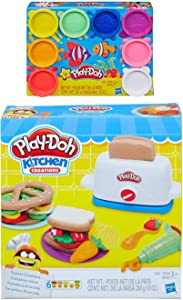 Play Doh Toaster Creations + Play Doh 8 Pack Rainbow Compound Bundle