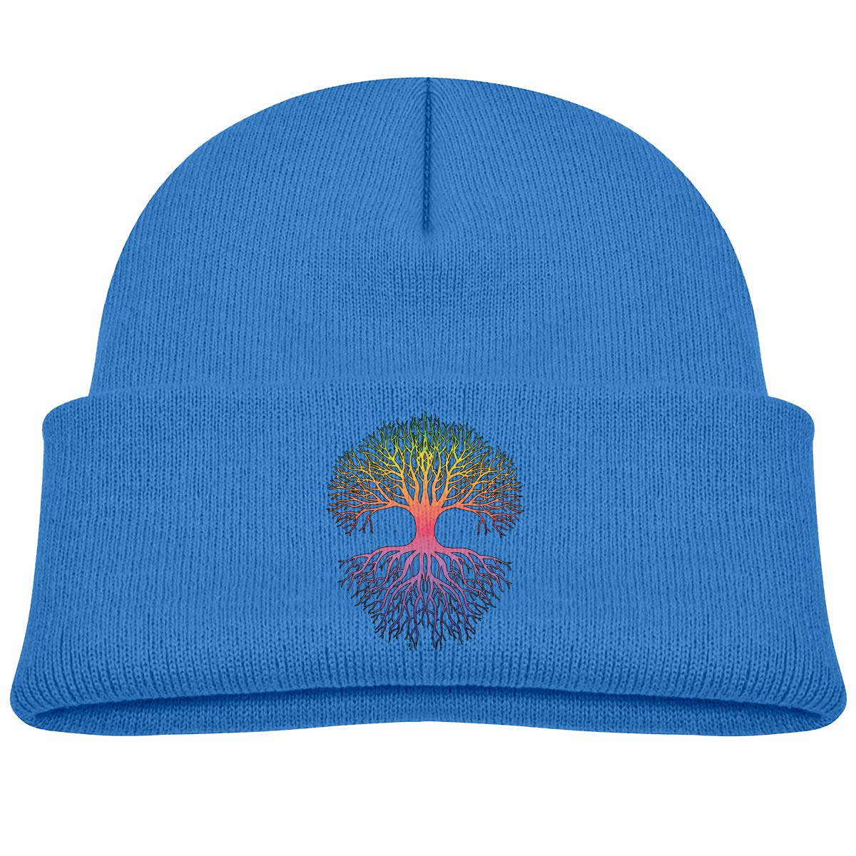 XKAWPC Tree of Life Knitted Hat Winter Skull Beanies Childrens Cuffed Plain Cap