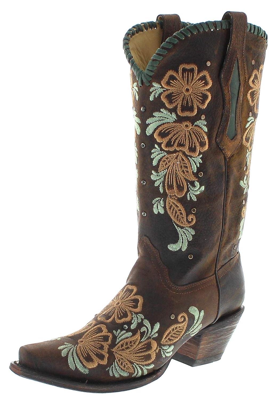 braun Corral Stiefel Damen Cowboy Stiefel R1434 Lederstiefel Braun