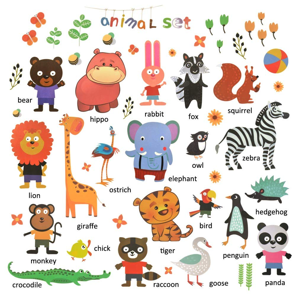 Animal Wall Decals, H2MTOOL Removable Educational Baby Wall Stickers for Kids Nursery Room Decor (Animal Multicolor)