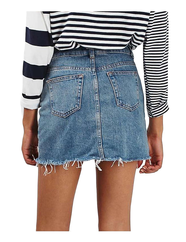 08706d998 Jueshanzj Womens Denim Skirt Sexy Mini Skirts With Pockets: Amazon.co.uk:  Clothing