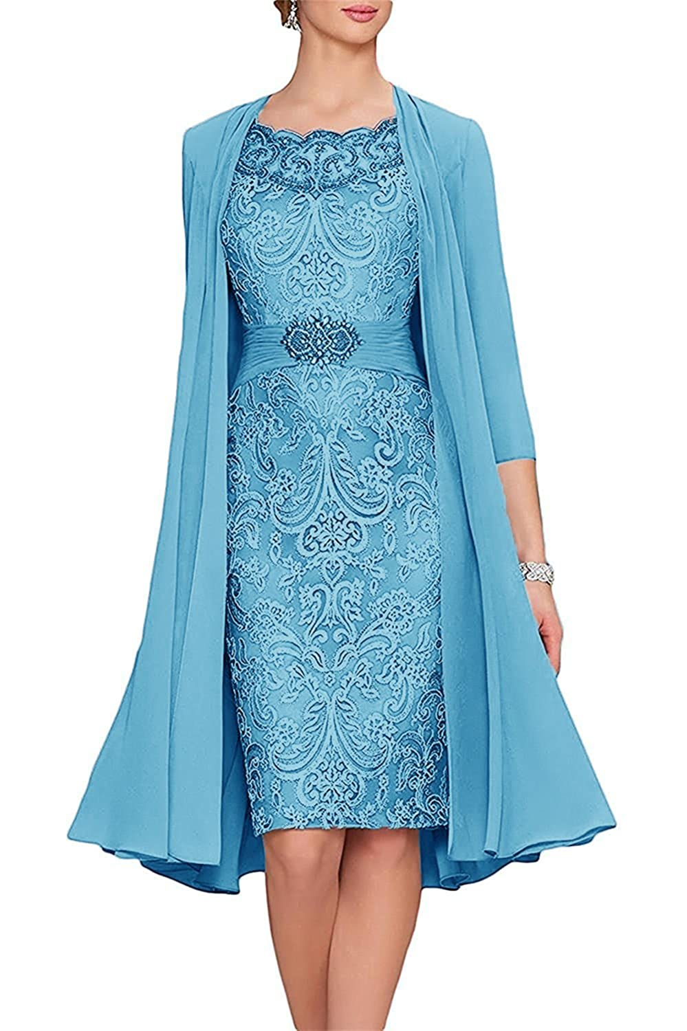 APXPF Women\'s Tea Length Mother of The Bride Dresses Two Pieces with ...