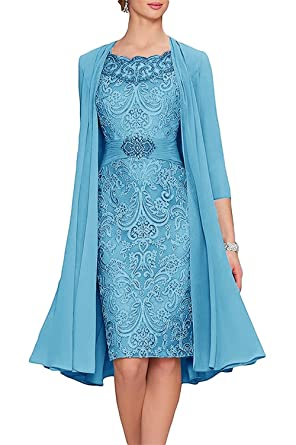bc6861ed40c APXPF Women s Tea Length Mother of The Bride Dresses Two Pieces with Jacket  Blue US2