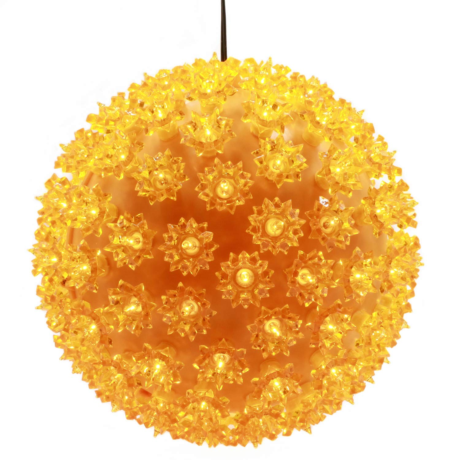 YULETIME 10'' Yellow Starlight Sphere Ball Lights, UL Certified Commercial Grade 150 Orange Lights Hanging Christmas Globe Light for Halloween Holiday Home Decor (10'' Yellow)