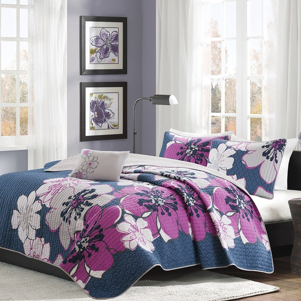 Mizone Allison Coverlet Set Fuschia Full/Queen