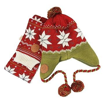 cb1c83901dc Kids Boys Girls Braided Aviator Beanie Hat Long Scarf Thick Crochet Knit  Wrap Skull Cap with