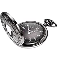Vintage Pocket Watch Steel Men Watch with Chain