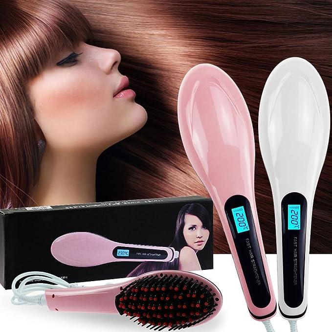 Beauty Star - Cepillo alisador eléctrico (digital), color rosa