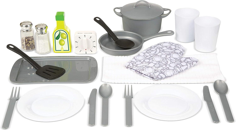 Amazon Com Melissa Doug 22 Piece Play Kitchen Accessories Set Utensils Pot Pans And More Toys Games