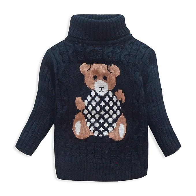 c9756e092a5 VIFUUR Kids Bear Turtleneck Sweater Boys Girls Knit Sweater Black US 10T