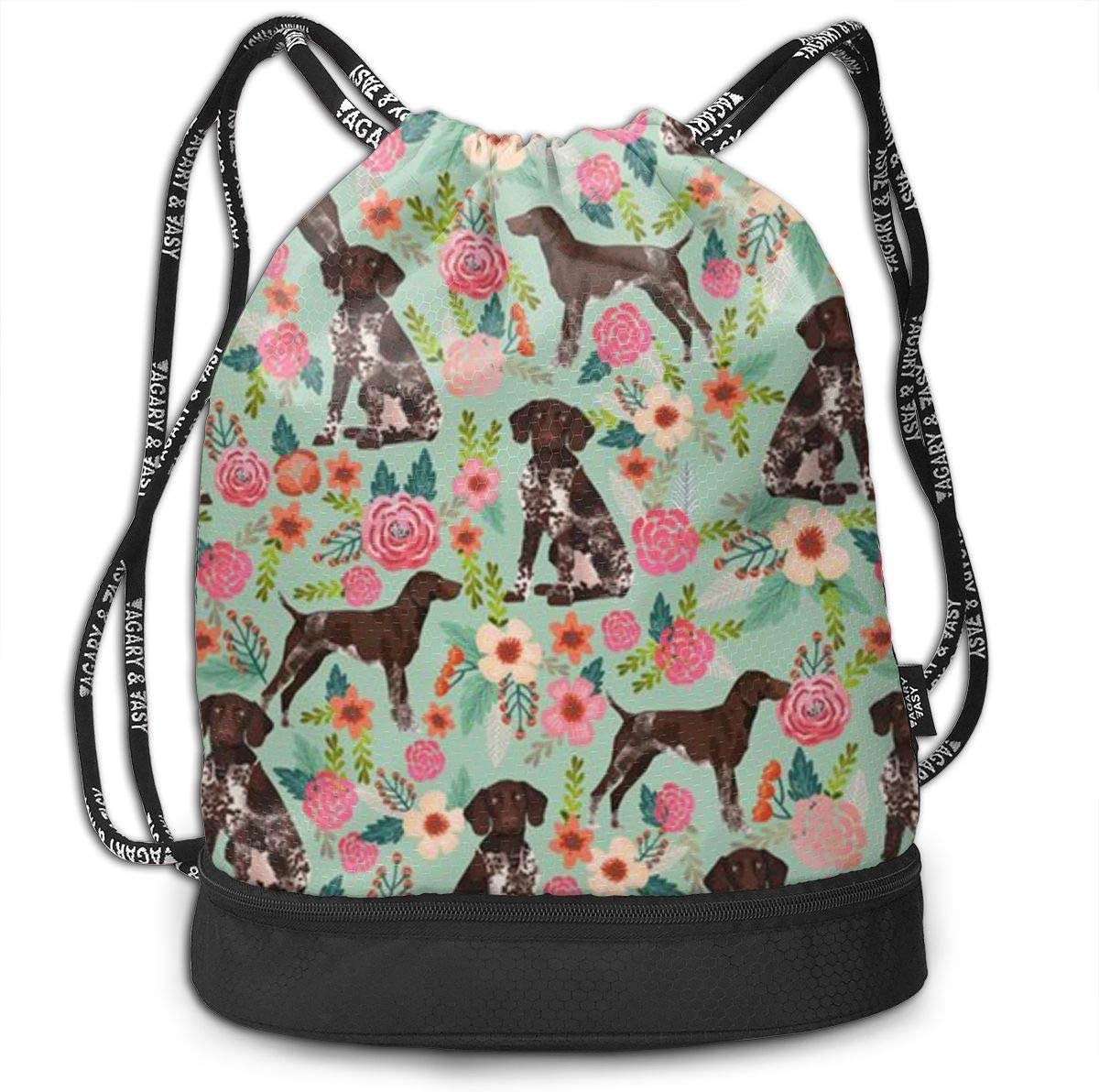 Drawstring Backpack German Shorthaired Pointer And Floral Beautiful Bags Knapsack For Hiking