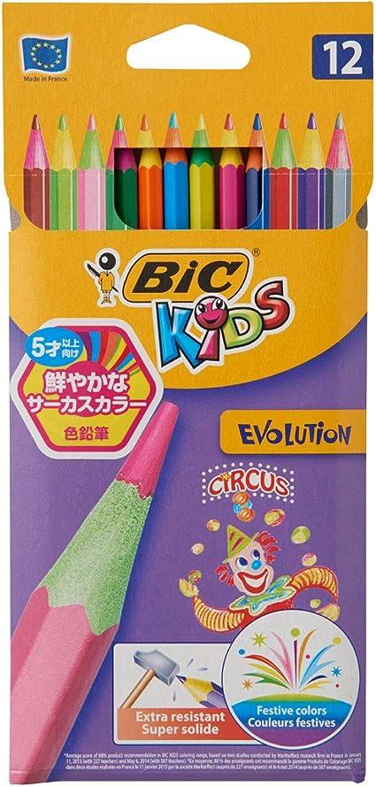 Lápices Bic Kids Evolution Circus Colorear (Pack de 12): Amazon.es ...