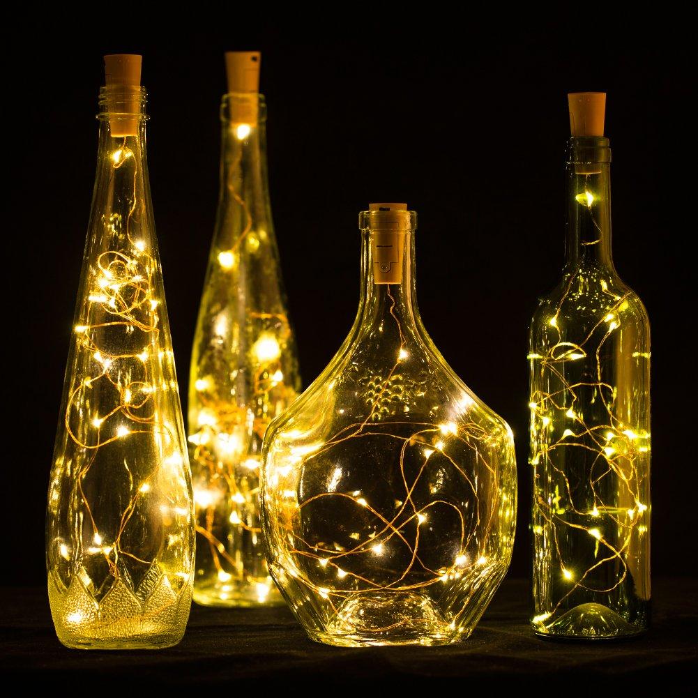 Luces LED para botella con corcho, 2 m, 20 luces LED de color blanco cálido para bricolaje, dormitorio, fiesta, boda, decoración, cobre, Golden Cork Light ...