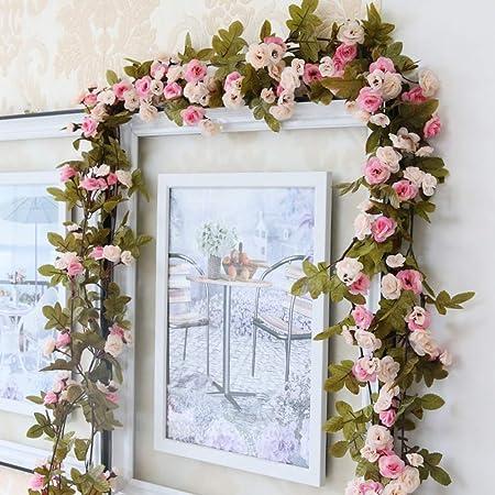 Omufipw Guirnalda de flores artificiales para casa, jardín, boda, fiesta, decoración de plantas, rosa, 2.3m: Amazon.es: Hogar