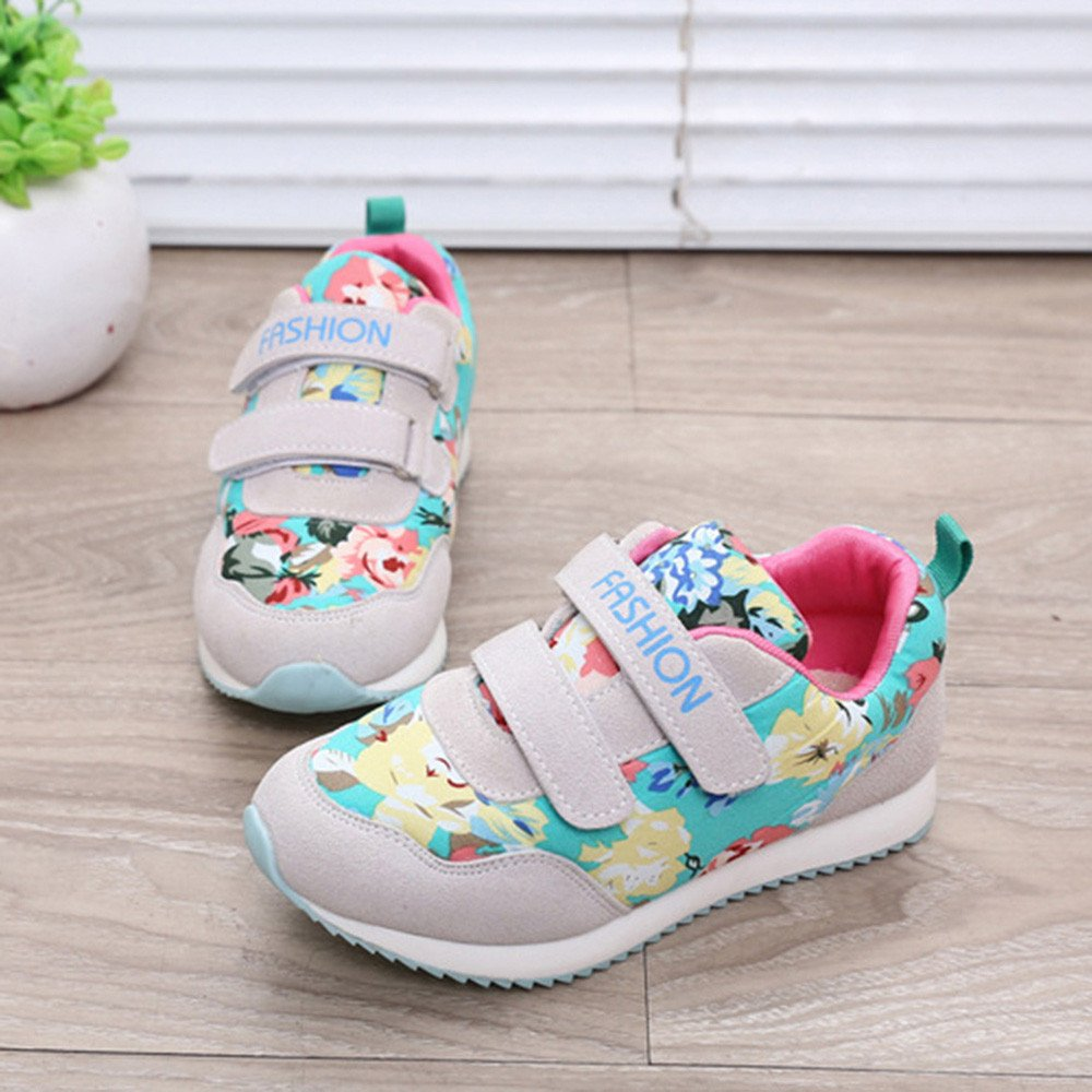 ManxiVoo Kids Baby Hook /& Loop Sneaker,Children Letter Flower Print Skate Shoes Prewalker for Age:4-9.5T