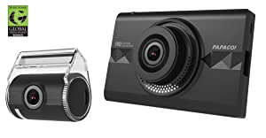 "PAPAGO GoSafe 366 Dash Cam 1080P FHD DVR Car Driving Recorder, Front and Rear Camera Set, 3.5"" Touch Screen, 16GB microSD Card Included - GS36616G"