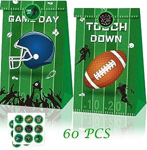 PoSeitiks 60PCS Advanced Football Treat Bags, Includes 24PCS Touch Down Treat Bags and 36PCS Football-Styled Stickers, Football Treat Bags for Super Bowl Party