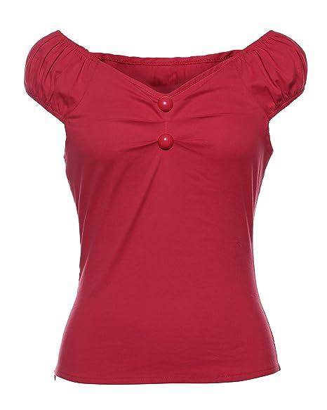 ZAFUL Mujer Vintage 50s Blusa Camisas Lunares Camiseta Sin Mangas XS-2XL: Amazon.es: Ropa y accesorios