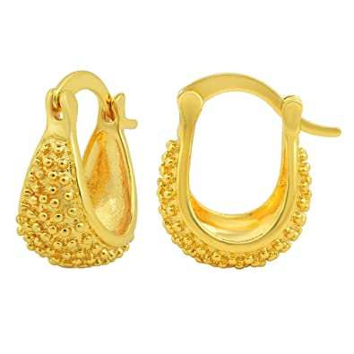 0ccb5d9af Buy Memoir Gold Plated, small size basket design hoop earrings women  traditional Online at Low Prices in India | Amazon Jewellery Store -  Amazon.in