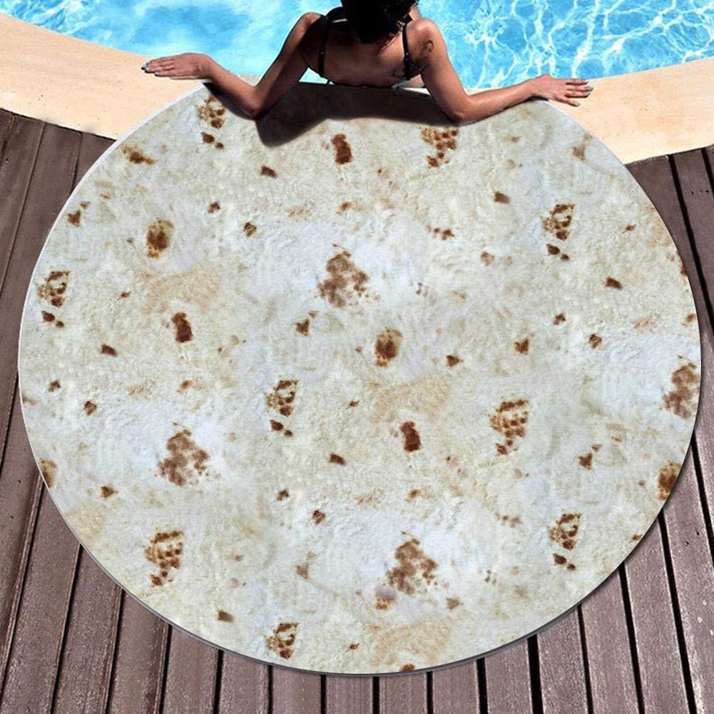 Camping M Qinlorgo Manta de Cama Patr/ón de Burrito Redondo Mexicano 3D Acogedor Suave para Exteriores Playa y Picnic