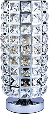Creatgeek Crystal Table Lamp, Modern Bedside Desk Light with on/Off Dimmer Switch and 5' Plug in Cord Night Lighting Fixture for Bedroom, Living Room, Study Room
