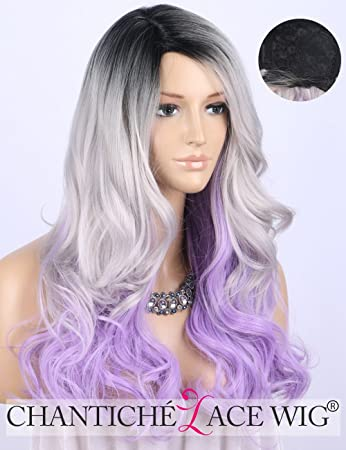 Chantiche Silver Grey Purple Ombre Hair Wig Long Wavy Black Rooted