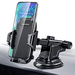 DesertWest Car Phone Mount,Upgraded Dashboard Windshield Adjustable Cell Phone Holder Compatible with iPhone XR Xs Max Xs 8 7 6 Plus Samsung Galaxy S10 S9 Note 9 LG Google etc.