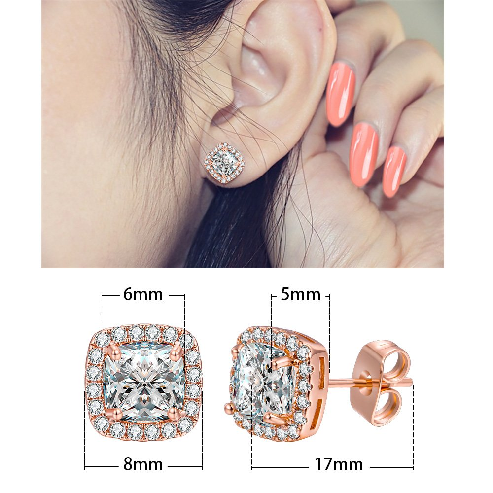 d49414a5f Amazon.com: VOLUKA 18K Rose Gold Plated Square Cubic Zirconia Stud Earrings  6mm for Women Teen Girls Jewelry: Jewelry