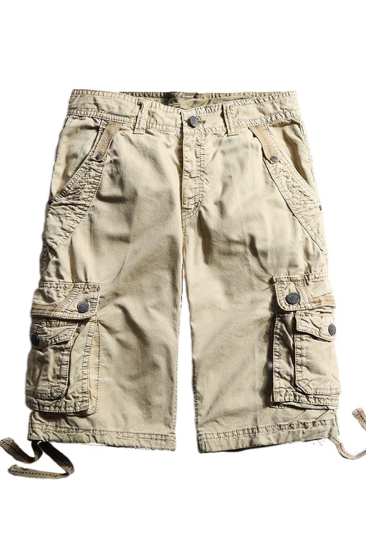 Cyparissus Mens Cargo Shorts Multi Pockets Short for Men (36,Khaki)