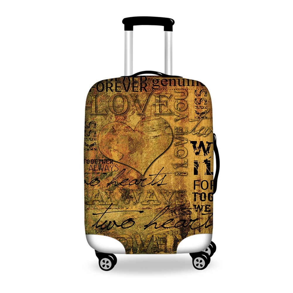 HUGSIDEA 22/24/26 Inch Vintage Love Shape Printed Elastic Luggage Cover Productor