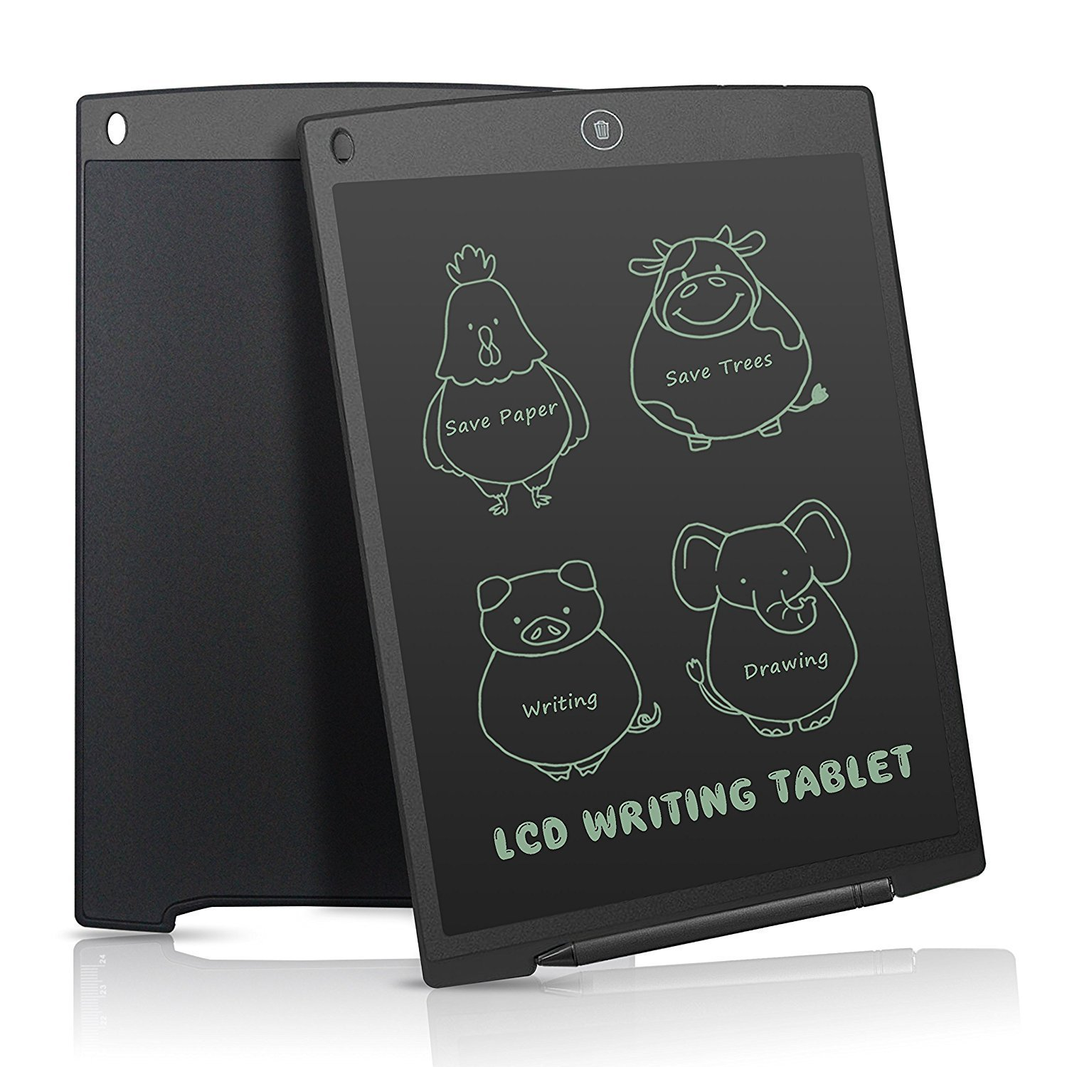 AKNICI LCD Writing Board, 12 Inch LCD Graphic Pad, Electronic Note Pads, Drawing Board, Whiteboard, LCD Writing Tablet for Childrens Kids Gifts, Elder Message Board, Family Memo and Office (Black)