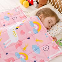 BUZIO Kids Weighted Blanket 105 x 150cm 3.2 kg, Pink Unicorn Blanket for Kids and Teens, 100% Natural Breathable Cotton Heavy Blanket, Great for Calming and Sleep