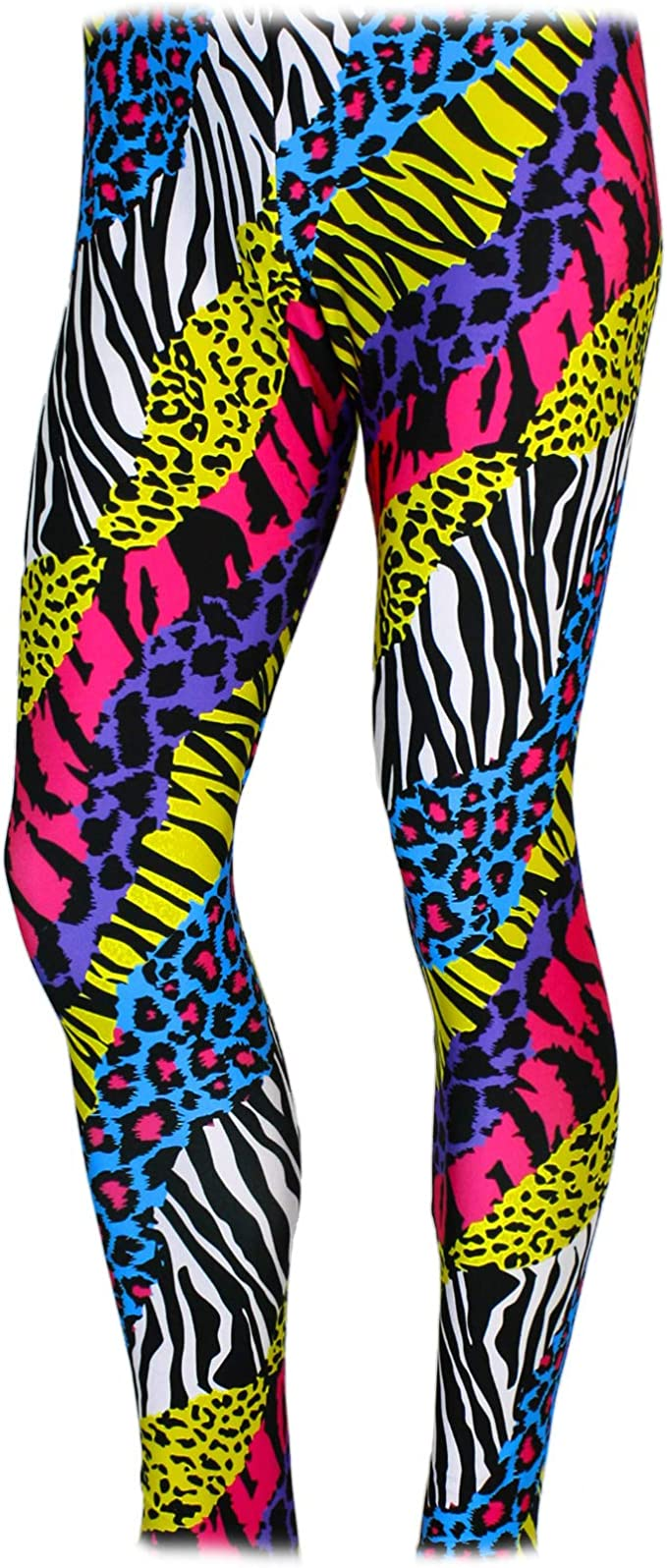 80s Costumes, Outfit Ideas- Girls and Guys Mens 80s Heavy Metal Pants Neon Animal Print Rainbow $37.49 AT vintagedancer.com