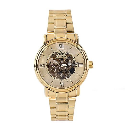 Weimob Hombres Reloj Movimiento de Mecánico de Cuerda Automática Correa de Acero Inoxidable Dorado Esqueleto Vintage Steampunk Reloj Mens Watch: Amazon.es: ...
