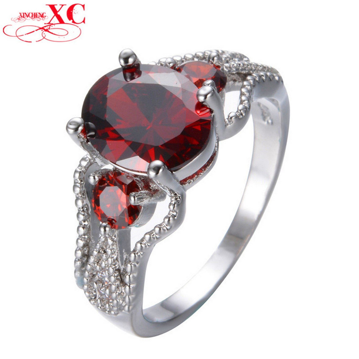 Dudee Jewelry Ruby Jewelry Red Ring White Gold Filled CZ Stone Ring Bohemian Engagement Anel RW1298