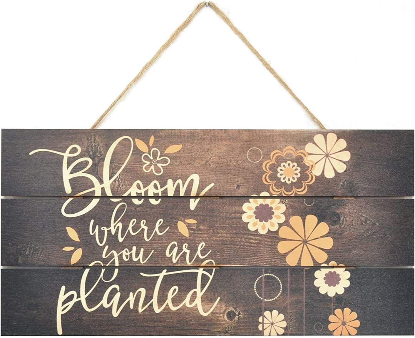 Rustic Wood Signs Bloom Where You are Planted Wooden Plank Plaque Home Decor 5 x 10 Inches(YQ122540)