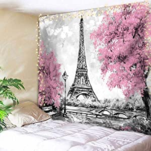 AMBZEK Eiffel Tower Tapestry Paris 51Hx59W Inch Oil Painting European City France Romantic Vintage Pink Trees Fantasy Landscape Fashion Art Wall Hanging Bedroom Living Room Dorm Decor Fabric