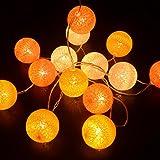3M/10Ft 30 Yellow Orange White Cotton Ball LED Xmas Wedding Battery Operated String Fairy Light