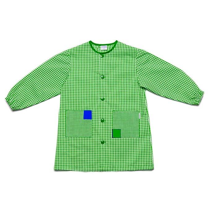 Dyneke Bata escolar botón Clásica verde (personalización opcional gratuita con nombre bordado) (Talla