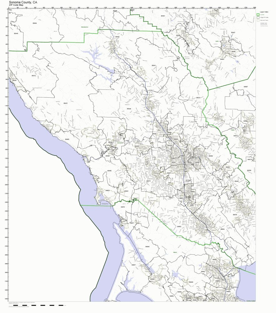Sonoma Zip Code Map.Amazon Com Sonoma County California Ca Zip Code Map Not Laminated