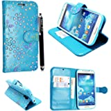 FOR SAMSUNG GALAXY S4 MINI I9190 PU LEATHER MAGNETIC FLIP CASE COVER POUCH + SCREEN PROTECTOR +STYLUS (Sky Blue Book)
