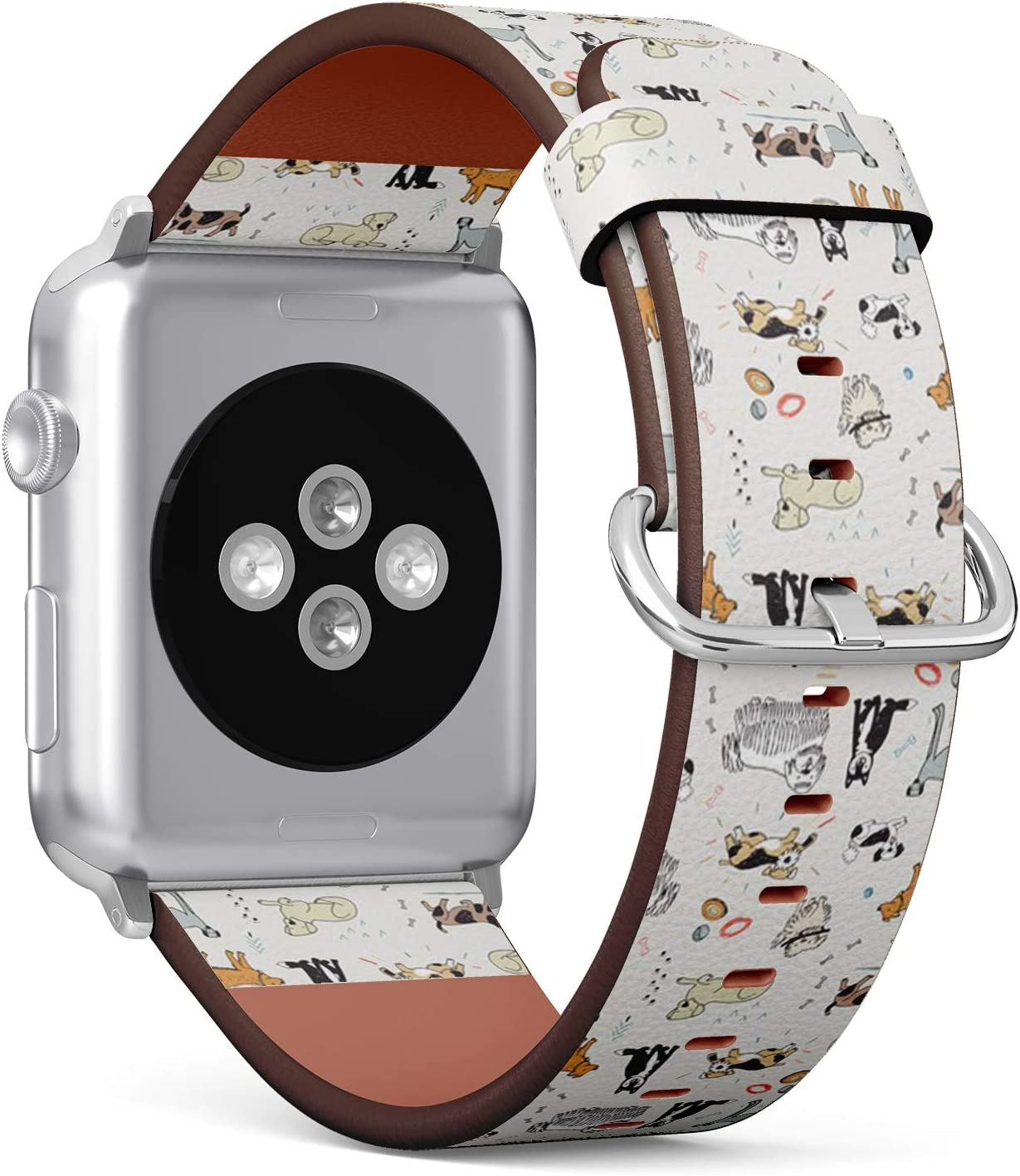 Compatible with Small Apple Watch 38mm & 40mm (Series 5, 4, 3, 2, 1) Leather Watch Wrist Band Strap Bracelet with Stainless Steel Clasp and Adapters (Different Doodle Dogs)