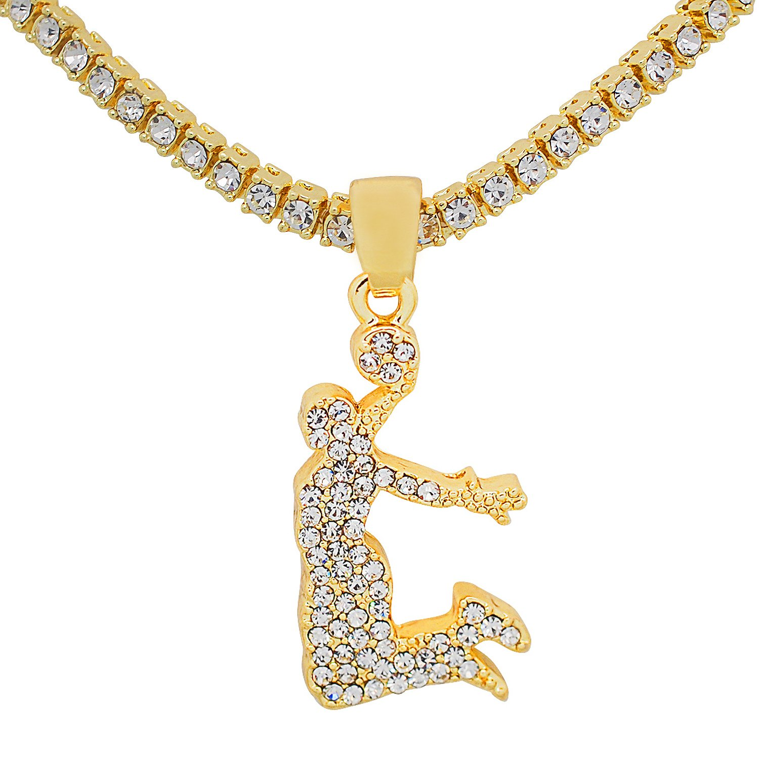 Yellow Gold-Tone Hip Hop Bling Simulated Crystal Slam Dunk Pendant with 20 Tennis Chain and 24 Rope Chain