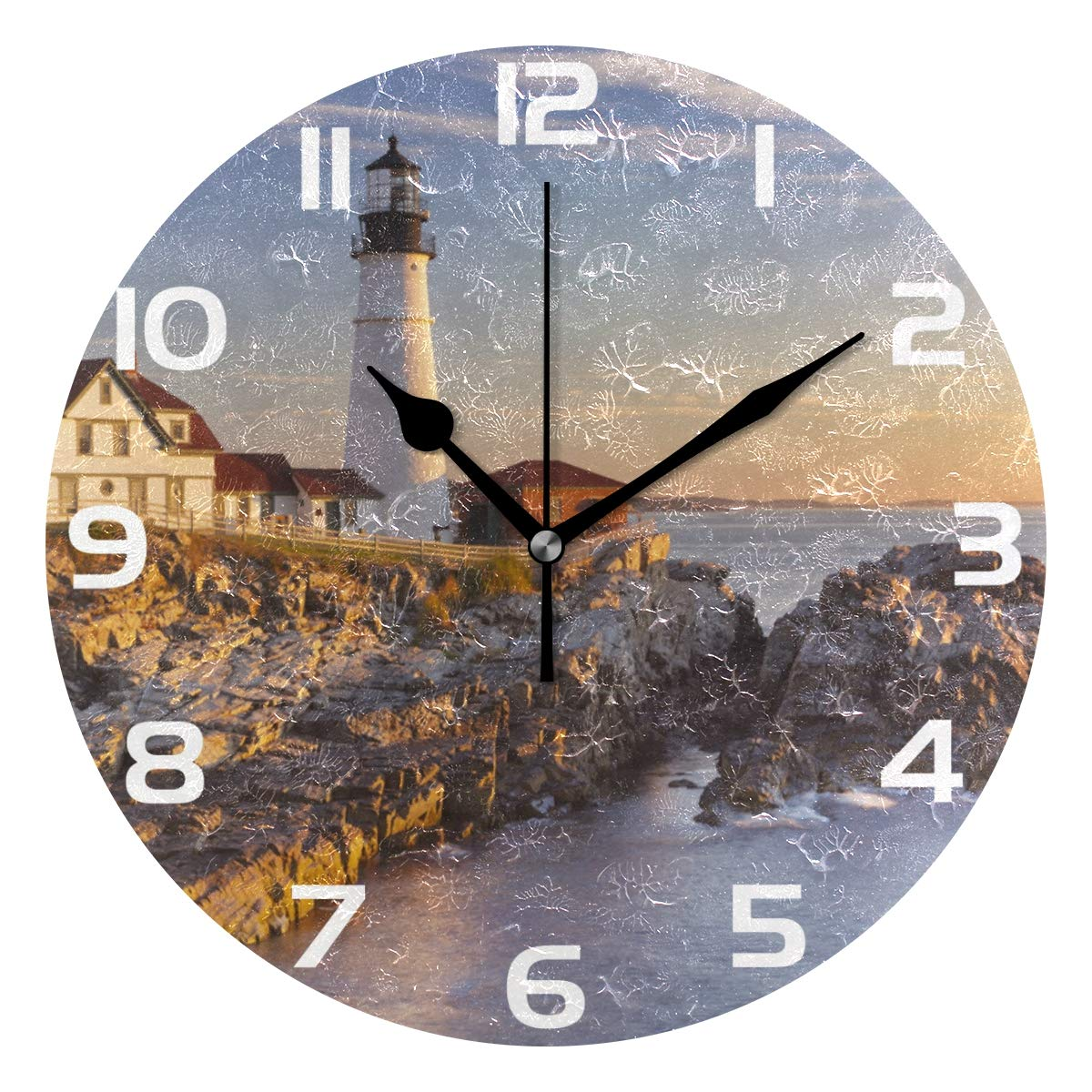 WellLee Portland Head Lighthouse Clock Acrylic Painted Silent Non-Ticking Round Wall Clock Home Art Bedroom Living Dorm Room Decor