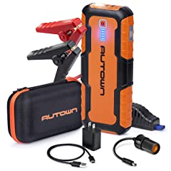 AUTOWN Car Jump Starter - 21000mAh 1000A Peak 12V Auto Battery Booster with Quick Charge (Up to 8.0L Gas 6.5L Diesel Engine) Portable Power Pack & Jump Box with Smart Jumper Cables and LED Light