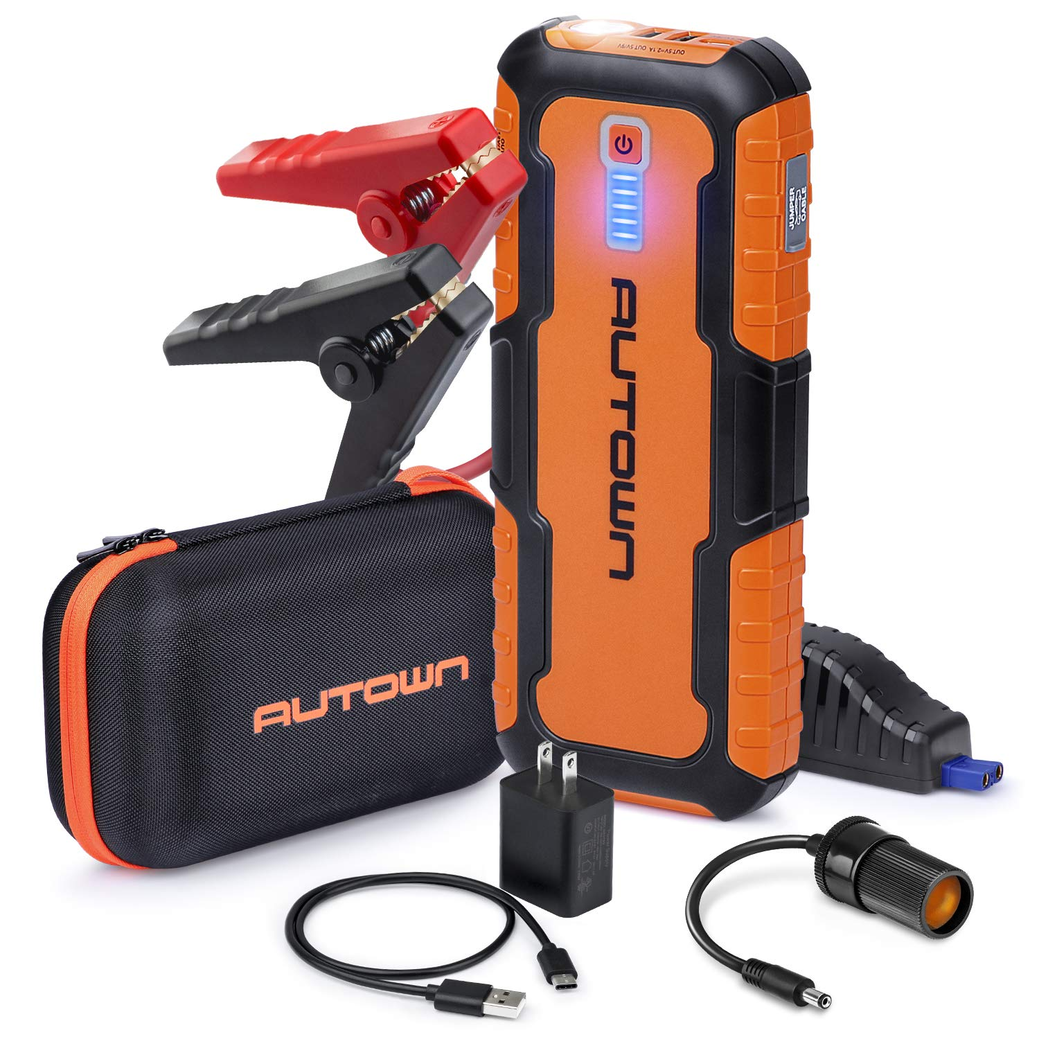 AUTOWN Car Jump Starter – 21000mAh 1000A Peak, 12V Auto Battery Booster With Quick Charge (Up To 8.0L Gas, 6.5L Diesel Engine), Portable Power Pack & Jump Box With Smart Jumper Cables And LED Light