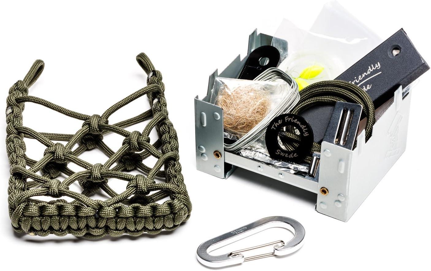 The Friendly Swede Estufa de camping con kit de supervivencia, bolsa de paracord – estufa de madera para viajes, iniciador de fuego, herramientas de ...