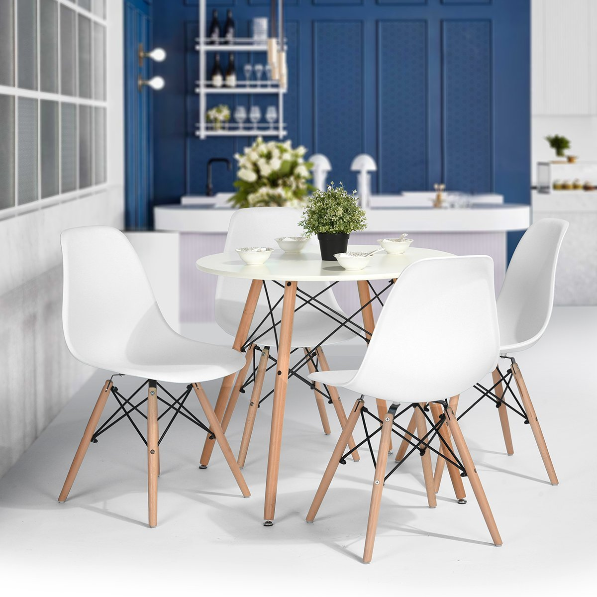 HOMY CASA Mid Century Modern Style Eames Seat Height Natural Wood Legs Armless Chairs for Kitchen, Dining, Bedroom, Living Room White Color, Set of 4